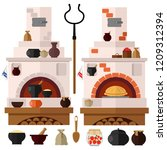 russian stove. set of two types ... | Shutterstock .eps vector #1209312394