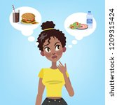 pretty woman choosing between...   Shutterstock .eps vector #1209315424