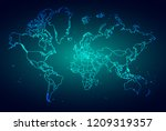 world map digital tech... | Shutterstock .eps vector #1209319357
