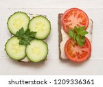 top view of healthy sandwiches... | Shutterstock . vector #1209336361