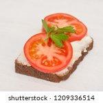 healthy open sandwich on a... | Shutterstock . vector #1209336514