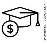 mortarboard with dollar sign... | Shutterstock .eps vector #1209345274