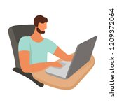 person working on a laptop.... | Shutterstock .eps vector #1209372064