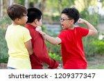 asian boy student suffering or... | Shutterstock . vector #1209377347