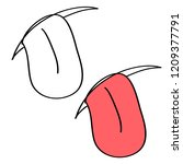 doodle cartoon tongue on a... | Shutterstock .eps vector #1209377791