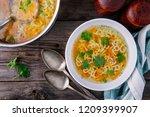 homemade chicken and alphabet... | Shutterstock . vector #1209399907