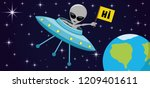 ufo and alien in space above... | Shutterstock .eps vector #1209401611