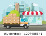 delivery truck loaded with... | Shutterstock . vector #1209408841