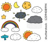 vector set of things in the sky | Shutterstock .eps vector #1209408994