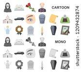 funeral ceremony cartoon icons... | Shutterstock .eps vector #1209432874