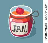 cherry jam vector illustration. ... | Shutterstock .eps vector #1209449524