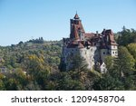 dracula's castle on a sunny... | Shutterstock . vector #1209458704