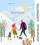 happy family in winter  vector... | Shutterstock .eps vector #1209464704
