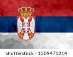 serbia polygonal flag. mosaic... | Shutterstock . vector #1209471214