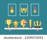 achievements on shelves. wall... | Shutterstock .eps vector #1209472051