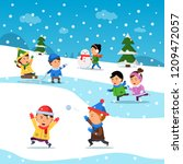 kids winter playing. funny... | Shutterstock .eps vector #1209472057