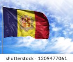 national flag of andorra on a...   Shutterstock . vector #1209477061