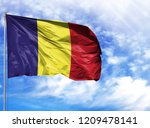 national flag of romania on a... | Shutterstock . vector #1209478141