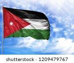 national flag of jordan on a...   Shutterstock . vector #1209479767