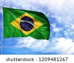 national flag of brazil on a...   Shutterstock . vector #1209481267