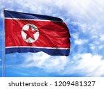 national flag of north korea on ...   Shutterstock . vector #1209481327