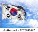 national flag of south korea on ...   Shutterstock . vector #1209481447