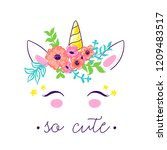 cute unicorn horn in floral... | Shutterstock .eps vector #1209483517