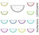 watermelon icon in multi color. ...