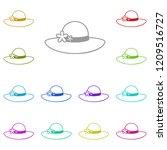 women's hat glyph icon in multi ...