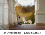 Stock photo girl plays with her husky dog in fallen autumn leaves 1209523534