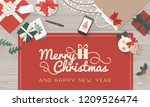 christmas wishes and table with ... | Shutterstock .eps vector #1209526474