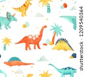 cute kids watercolor pattern... | Shutterstock . vector #1209540364