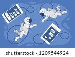 space love in cosmos.astronaut... | Shutterstock .eps vector #1209544924