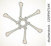 vector snowflake made of bones... | Shutterstock .eps vector #1209547144