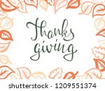 thanksgiving lettering.... | Shutterstock .eps vector #1209551374