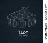 tart dessert with berries icon. ... | Shutterstock .eps vector #1209551494