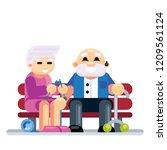 senior couple embracing sitting ... | Shutterstock .eps vector #1209561124