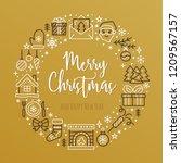 merry christmas circle banner... | Shutterstock .eps vector #1209567157