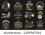 set of merry christmas and 2019 ... | Shutterstock . vector #1209567241