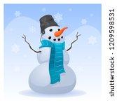 cartoon smiling snowman under... | Shutterstock .eps vector #1209598531