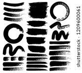 set of brush stroke  black ink... | Shutterstock .eps vector #1209600061