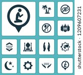 religion icons set with palms ... | Shutterstock .eps vector #1209607231