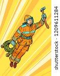 fireman  firefighter flying... | Shutterstock .eps vector #1209611284