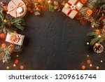 christmas gift boxes on holiday ... | Shutterstock . vector #1209616744