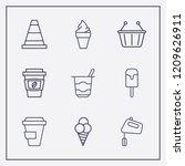 Outline 9 Milk Icon Set. Coffe...