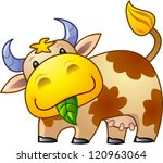 Stock vector funny little cow with green leaf in mouth 120963064