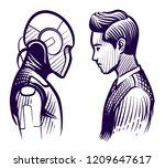 human vs robot. conflict of... | Shutterstock .eps vector #1209647617