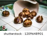 Roasted Brown Edible Chestnuts...