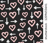 seamless pattern with hearts... | Shutterstock .eps vector #1209653641