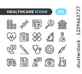 healthcare line icons. outline... | Shutterstock .eps vector #1209663727